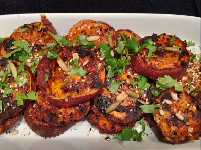 Grilled Sweet Potatoes with Miso-Sesame Sauce