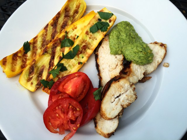Grilled Chicken and Zucchini with Green Sauce