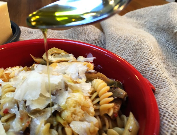 October – Pasta with cauliflower, artichokes and parmesan oil