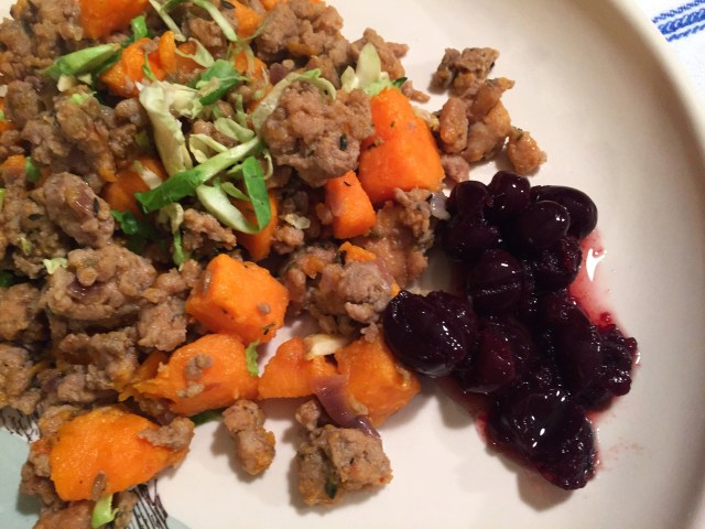 Ground Turkey Sweet Potato Skillet with Cranberry Aigre-Doux