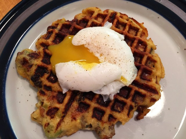 Stuffing Waffle with Poached Duck Egg