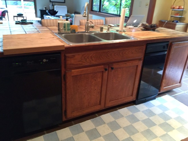 Before - Island sink and dishwasher