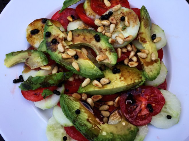 Tomato, cucumber and avocado salad