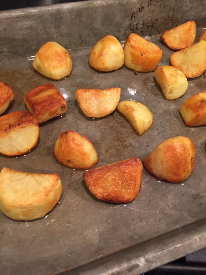Roasted potatoes in the pan