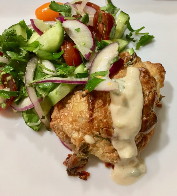 April – Tahini-Marinated Chicken Thighs with Cherry Tomato Salad