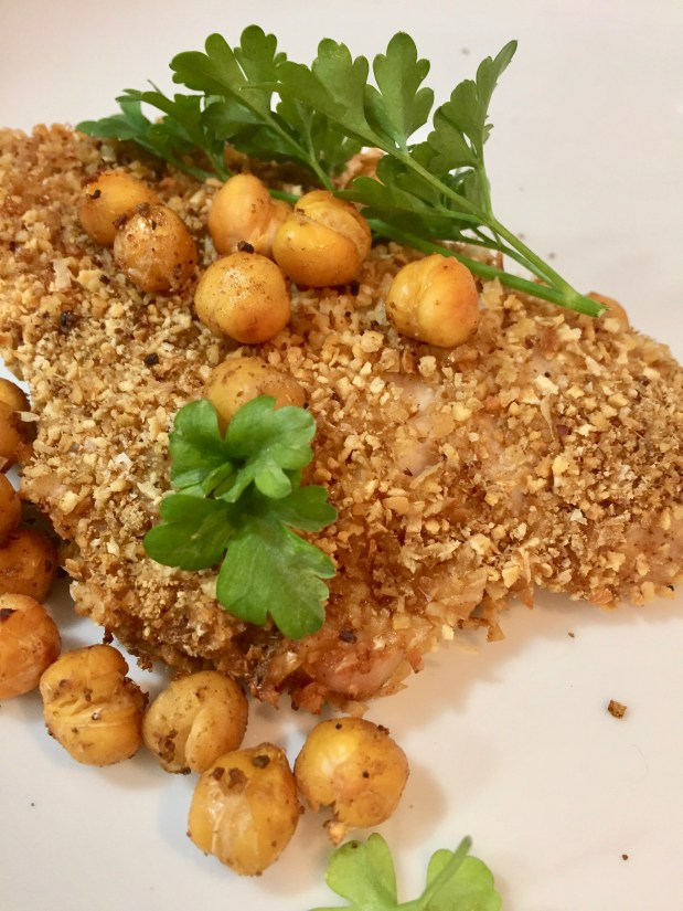 June – Chickpea Crusted Chicken Filets with Crispy Chickpeas