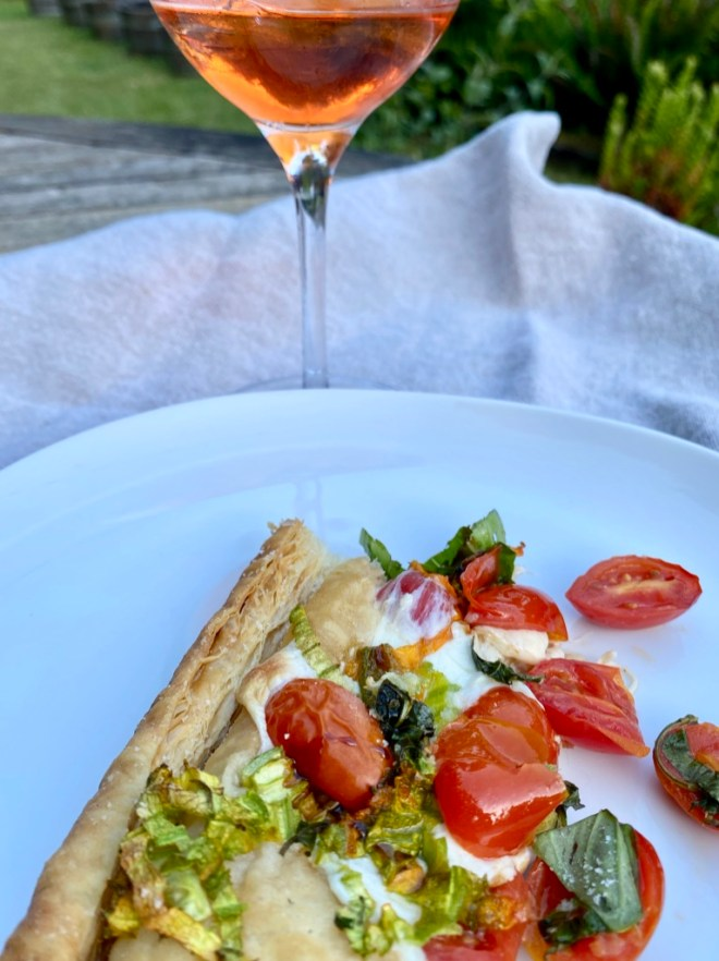 Puff Pastry Pizza with Mozzarella, Cherry Tomatoes, Basil and Balsamic Drizzle