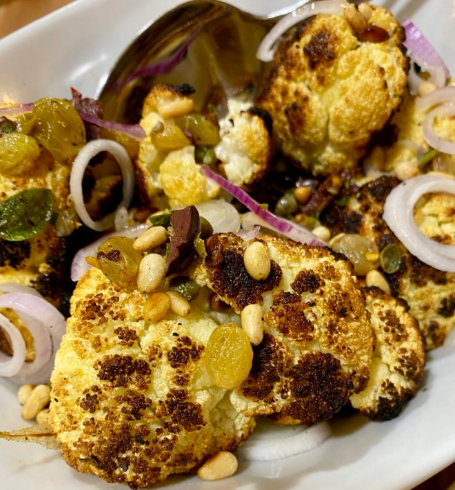 Grilled Cauliflower with Sicilian Puttanesca