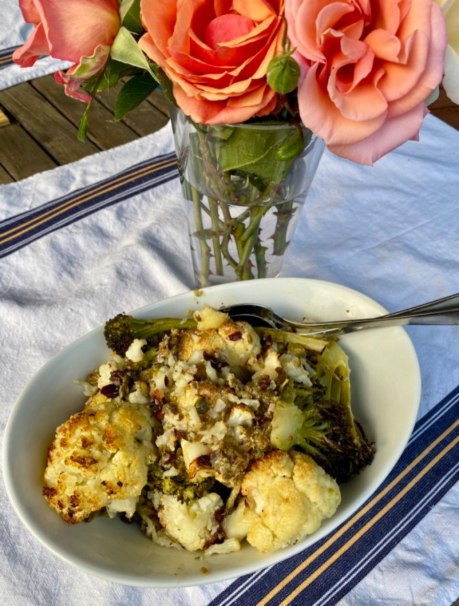 Grilled Cauliflower and Broccoli with Sicilian Puttanesca Relish