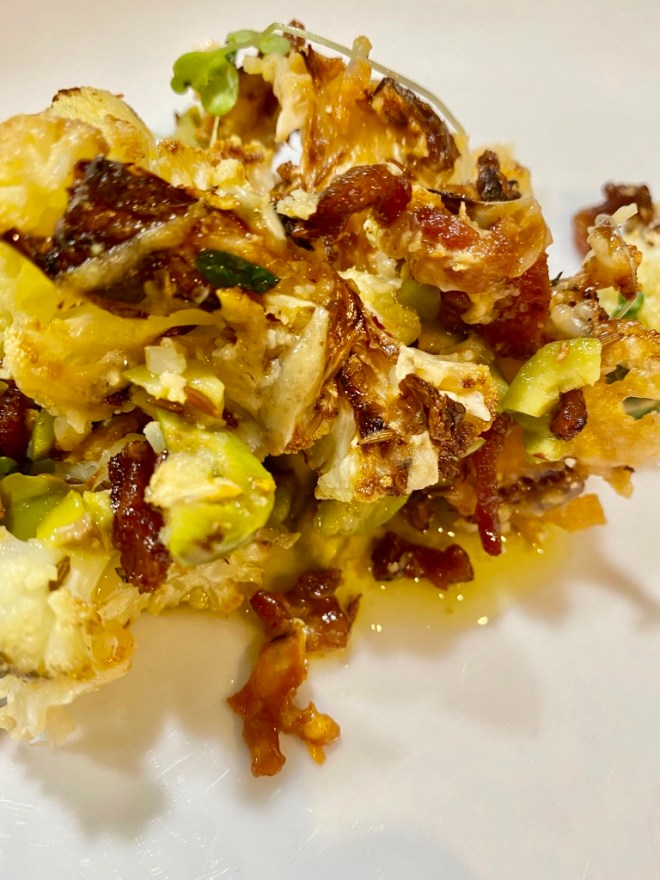 Roasted Cauliflower with Bacon, Olives and Crisp Parmesan