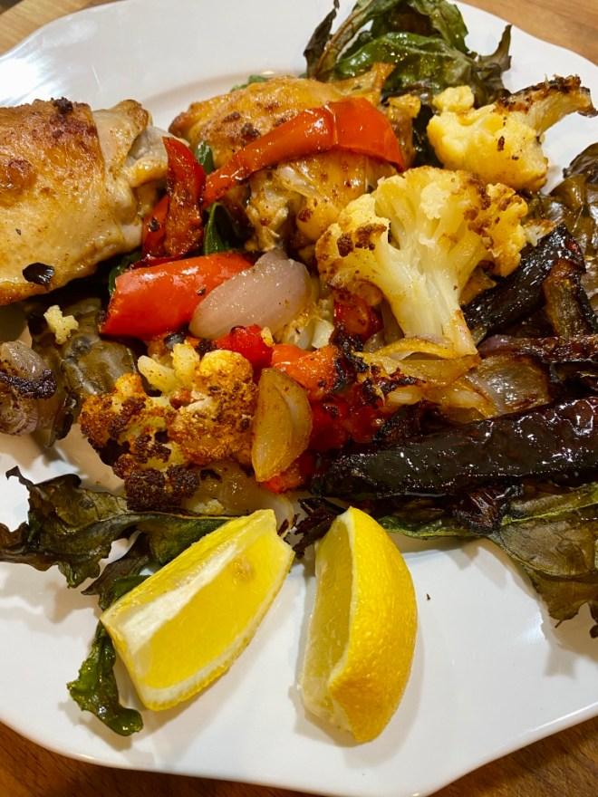 Chicken, cauliflower, red pepper sheet pan dinner