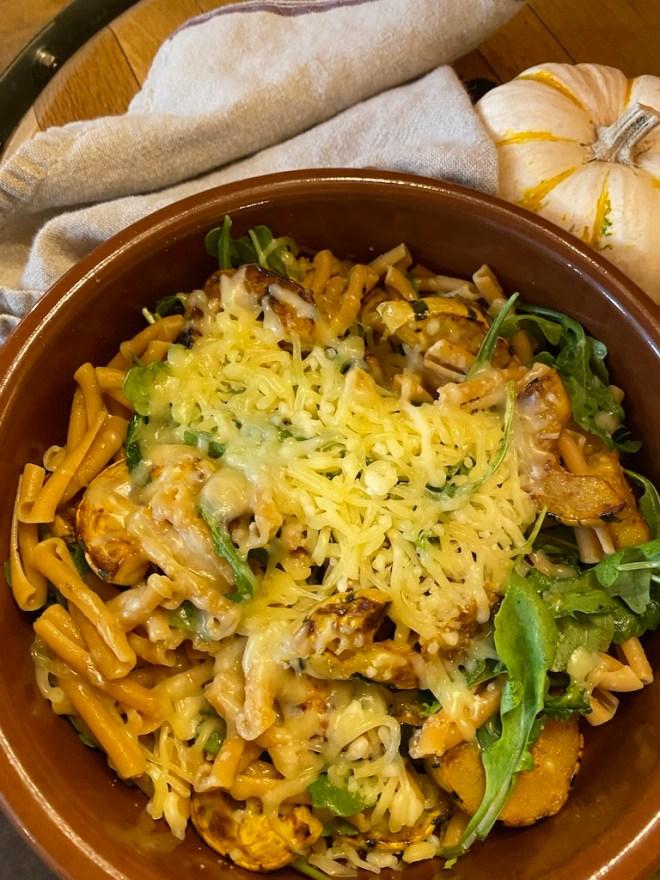 Spicy Delicata Squash Pasta with Arugula