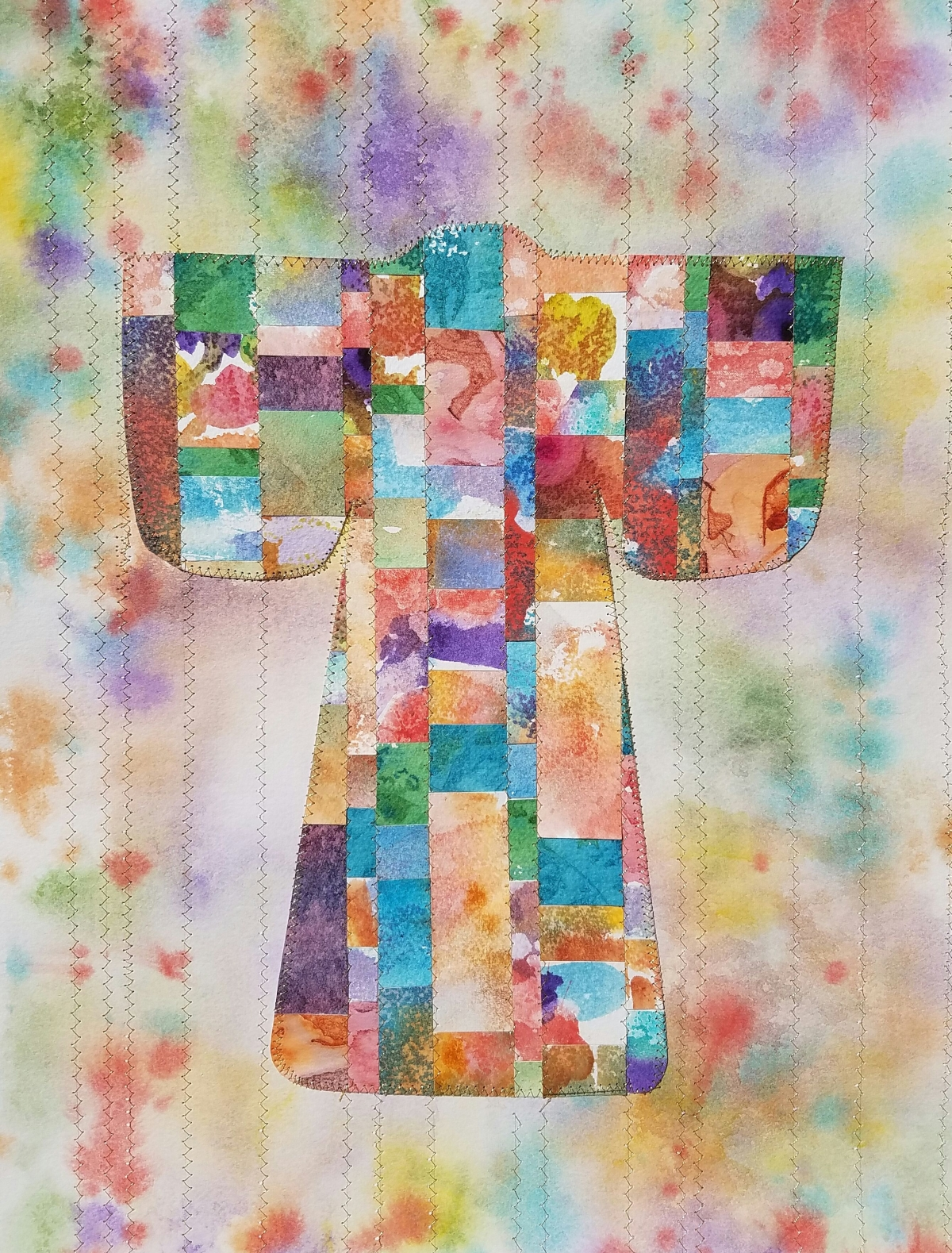 kimono made from colorfully painted paper