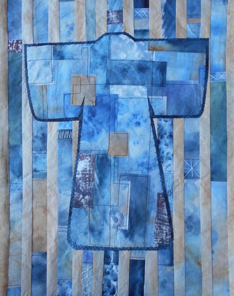 kimono made of indigo dyed papers