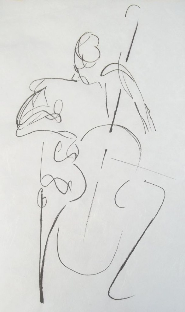 drawing of cellist