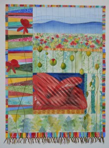 Paper quilt of poppies