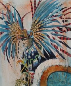 feathered headdress on a Native dancer