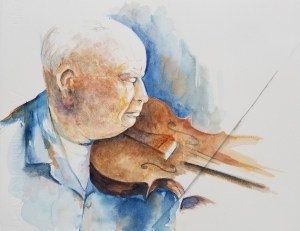 painting of old fiddler