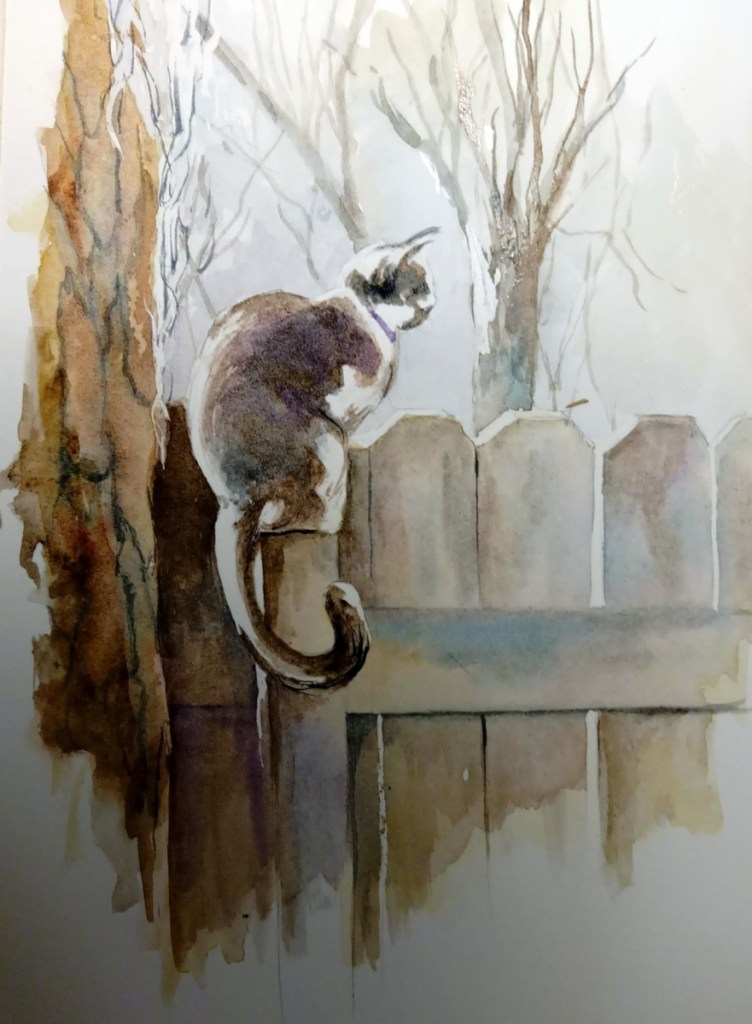 painting of a cat on a fence post