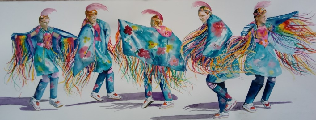 multiple views of native dancer doing butterfly dance