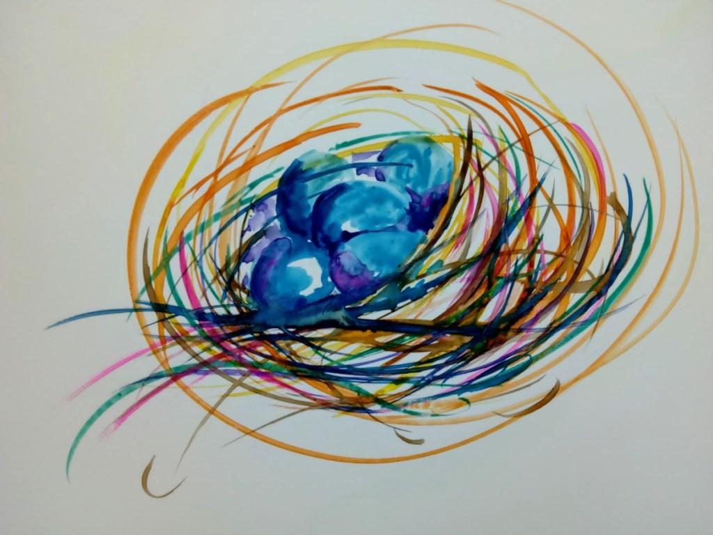 watercolor of bluebird nest