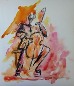 painting of a cellist
