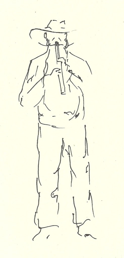 drawing of Native AmericanFlutist