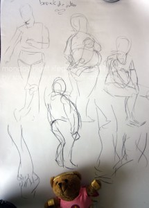 And sketches during the break of other people at life drawing
