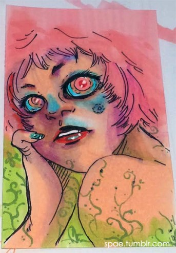 Looking Back, ACEO. Markers, 2014