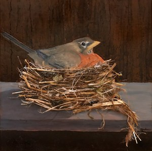 robin on nest painting