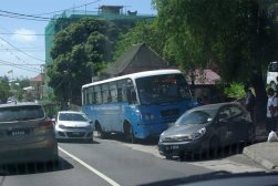 Traffic outside of Victoria the capital of Mahe