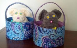 easter baskets with bunnies