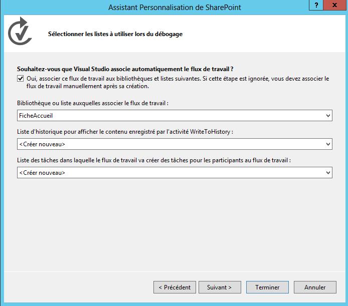 Création d'un workflow de type State Machine (machine à état) SharePoint 2013 (3/6)
