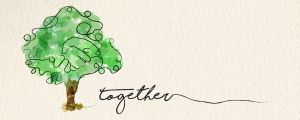 "web banner with illustration of hand inside a tree and the word ""together"" in handwritten script"