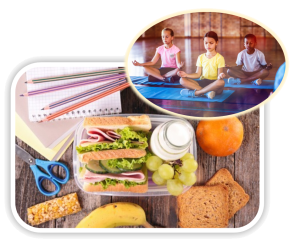Children doing yoga at school juxtaposed on image of a healthy school lunch brought from home