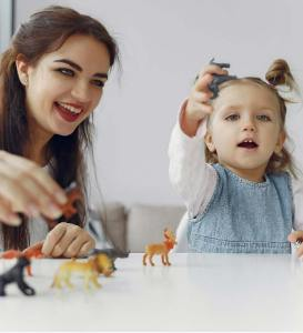 mother and child playing with toys