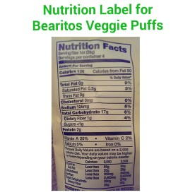 Bearitos Veggie Puffs Nutrition