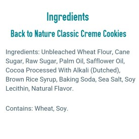 Back to Nature Classic Creme Cookie Ingredients