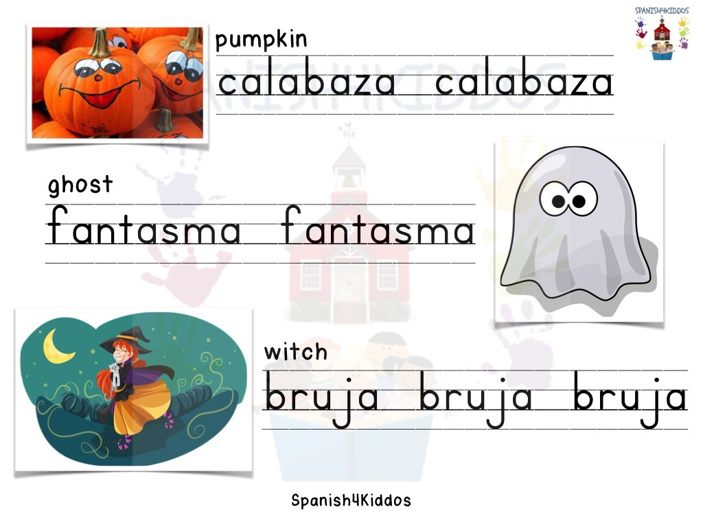 Spanish Halloween writing practice