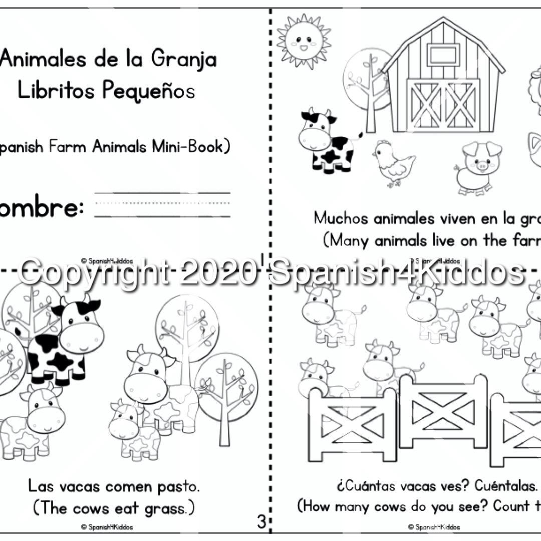 Spanish Farm Animals Mini Book Spanish4kiddos