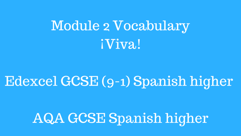 GCSE Spanish (9-1) AQA Edexcel Module 2 Vocabulary