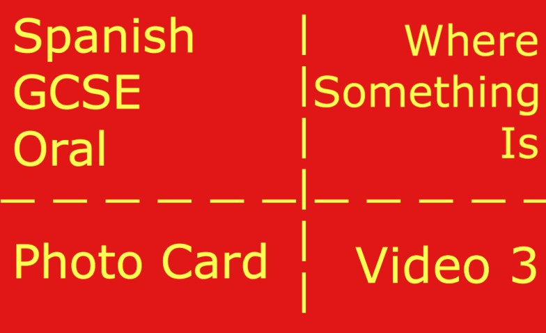 GCSE Spanish oral - photocard - where something is
