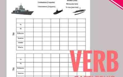 Battleship Verbs Game Printables for Spanish Class