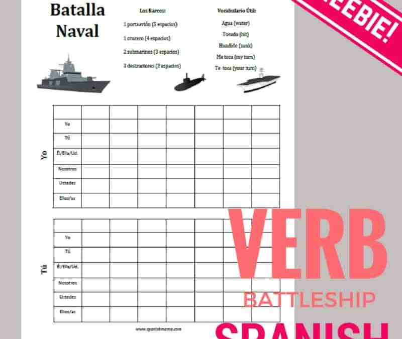 Battleship Verbs Game Printables for Spanish Class