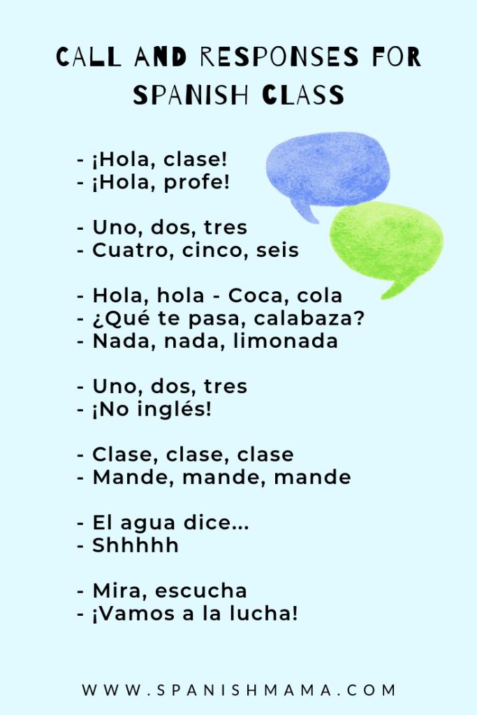 spanish call and responses