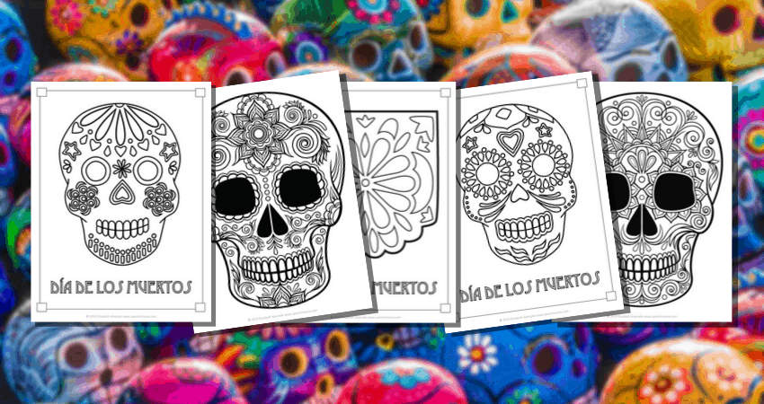 Sugar Skull Coloring Pages and Masks for Día de Muertos