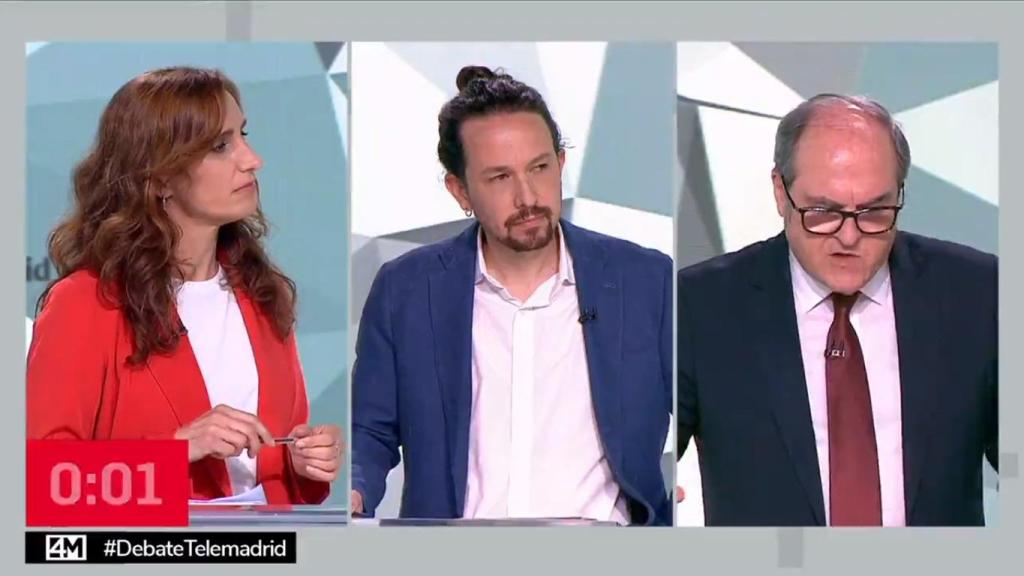 monica garcia pablo iglesias y angel gabilondo en el debate electoral de telemadrid
