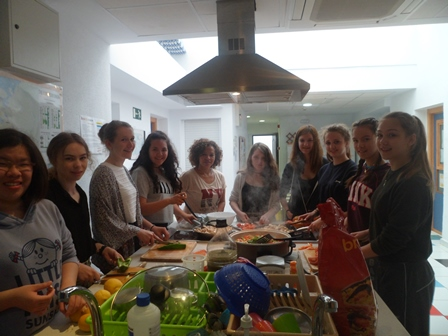 Student group during cooking lesson