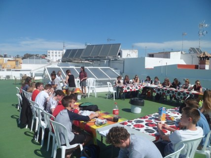Eating on rooftop