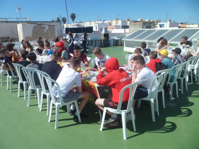 Eating on the roof terrace